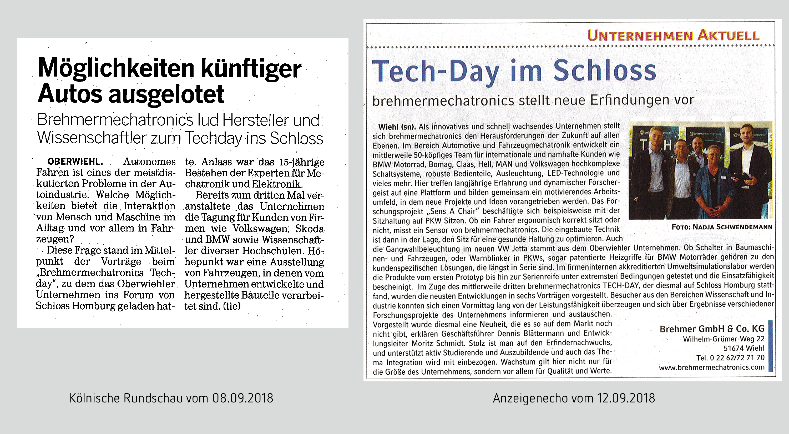September 2018: Two press articles about the TECH-DAY 2018